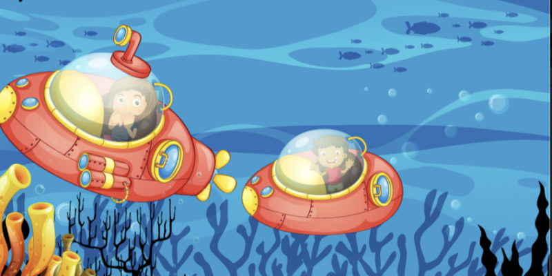 Two Animated Submarines deep in the ocean with coarls around them